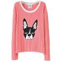 Thin Vertical Stripe&Dog Embroidered Sweatshirt