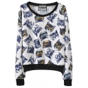 Contrast Trim All Over Kitty Print White Sweatshirt