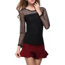 Heart Pattern Lace Panel Long Sleeve Fitted Blouse