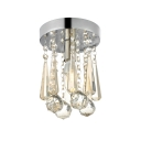 Dazzling Flush Mount Light Fixture with Gleaming Chrome Finish Stainless Steel Base and Beautiful Faceted Crystal Beads