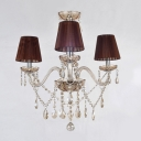 Elegant and Romantic 3-Light Mini Chandelier Accented by Brown Shades and Dangling Crystal Droplets