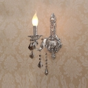 Gorgeous European Style Wall Sconce Features Decorative Silver Detailing and Beautiful Crystal Drops with Single Candle Light