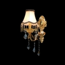 Classic Crystal Drops and White Fabric Bell Shade with Black Edging Add Charm to Splendid One-light  Wall Sconce