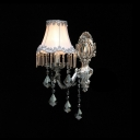 Beautiful Grey Fabric Shade and Crystals Embellished Stunning Single Light Wall Sconce Offers Glamorous Addition to Your Home Decor