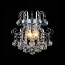 Exquisite Three Lights Crystal Cascade Modern Large Pendant Light Finished in Polished Chrome