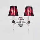 Imposing Two Lights Modern Fabric Shades and Sparkling Crystal Accent Add Glamour to Delightful Wall Sconce