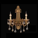 Graceful Design Wall Sconce Featured Delicate Sculpture Two Light Crystal Drops