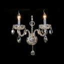 Splendid Candelabra Style Wall Sconce Featured Lead Hand-cut Crystal and Sleek Curving Arms