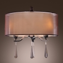 Elegantly Brown Sheer Shade Clear Crystal Drops 3-Light Modern Chandelier