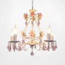 5-Light Pink Crysal Droplets and Clear Crystal Strands Chandelier with Flowers