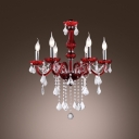 Red Arms and Clear Crystal Droplets 8-Light  Soft and Inviting Chandelier