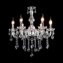 Clear Crystal Curved Arms 6 Candle Lights Chandelier with Glittering Droplets