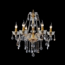 Clear Crystal Beads and Strands Cascades 6-Light Traditional Chandelier