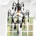 Delicate Crystals Paired with Black Finish Maks Swag Chandelier Chic Accent Piece for Entryway and More
