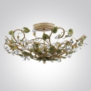 Add Beautiful Focal Point with Elegant and Sophisticated Ceiling Light Fixture Adorned by Green Leaves and Crystal Beads