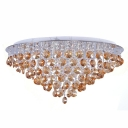 Tea Stained Colored Crystal Beads and Clear Crystal Strands Dropped Modern Flush Mount