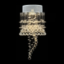 Plentiful Clear Crystal Balls Hang Together Elegant Flush Mount with Stainless Steel Canopy
