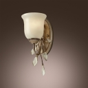 Delicate Bronze Finish Iron Base and Clear Crystal Leaves Composed Stunning Single Light Wall Sconce