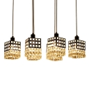 Lavish Multi-Light Pendant Adorned with Rectangular Shades and Graceful Cleat Crystal Beads