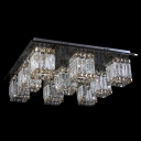 Crystal Cube Shades LED Flush Mount Lights in Brilliant Design Accented by Champagne Crystals
