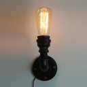 Upward Lighted Vintage LOFT LED Wall Lamp in Black Finish