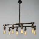 Aged Brass 8 Lights Chandelier Industrial Downrod Wrought Iron Pipe Hanging Light for Restaurant Kitchen Island
