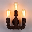 Three-light Rust Finished Vintage LOFT LED Wall Light