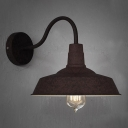 Mottled Rust Single Light Down Light Small Gooseneck Barn Wall Light