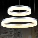 Two Tiers Modern Silver Simple LED Round Pendant in