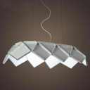 Folding Metal Shaded Large Pendant Light In Art Deco Style