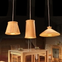 Novelty Three Light Wood Designer Multi-Light Pendant With Wooden Rectangular Canopy