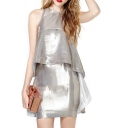 Silver Shining Futuristic Style Ruffle Detail Sleeveless Sheath Dress