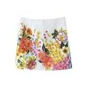High Waist Blossom Print Spring Style White Skirt