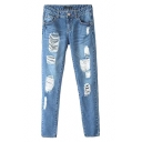 Blue Ripped Light Wash Pockets Zippered Laid Busted Jeans