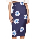 Purple High Waist Floral Split Back Midi Skirt