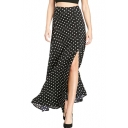 Black Polka Dot Split Hem Zippered Max Skirt