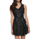V Front&Back Sleeveless Black Sequins Embellished A-line Dress