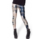 Fitted Floral Print Skinny Pencil Leggings