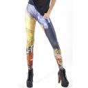 Color Block Mid Rise Elastic Waist Leggings