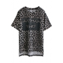 Leopard Letter Print Round Neck Tee with Dip Hem