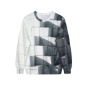 White&Gray Weave Pattern Print Sweatshirt