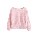 Plain Embroidered Floral Round Neck Long Sleeve Sweatshirt