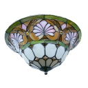 Baroque Two Light Tiffany Flush Mount Ceiling Light Gorse Pattern