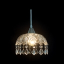 "Distinctive 7.8""  Wide Dome Shade Trimming with Beautiful Crystal Teardrops Composed Mini Pendant Light in Glamorous Look"