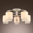Smashing Five Lights Sparkling Crystals Decorated Living Room Flush Mount Ceiling Light