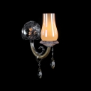 Mordern Chic Single Light Wall Sconce with Glass Crystal Accents Offers Warm Yellow Light