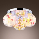 Champagne Crystals and Pink Flowers Motif Adorned Semi Flush Mount Ceiling Light