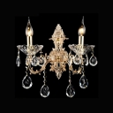 Regal Delicate European Style Two Light Crystal Wall Light Fixture