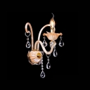 Magnificent Champagne Crystal Wall Sconce Features Beautiful Scrolling Arms and Clear Droplets
