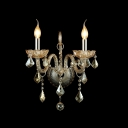 Regal Luxurious Candelabra Style Crystal Wall Sconce with Graceful Curving Crystal Arms